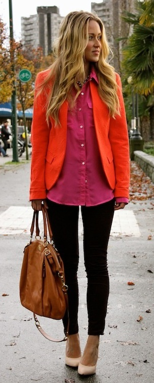 Bright layers. Orange coat and a pink button up over black skinnies.