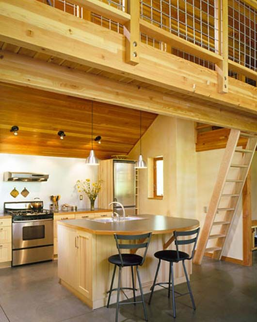 9i like this loft railing stairs combo cabin Cabin kitchen decor