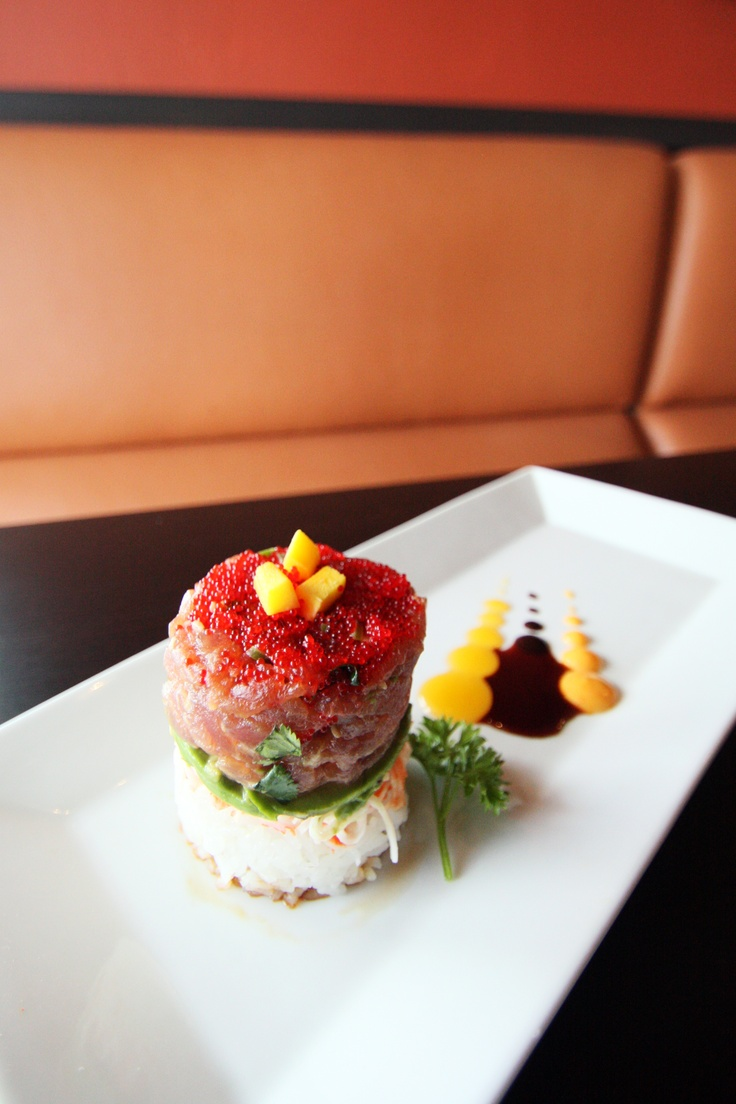 Ahi Tuna Tower - Layers of Spicy Tuna, Crab, Avocado and Wasabi ...