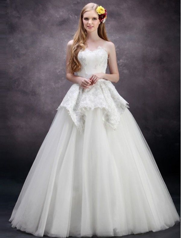 Peplum wedding dress google search dream for Peplum dresses for weddings