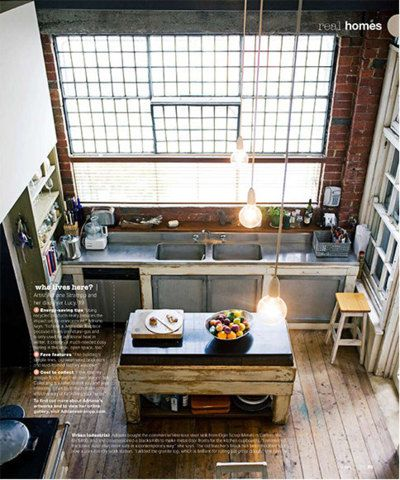 industrial eclectic kitchen with large window and lots of wood
