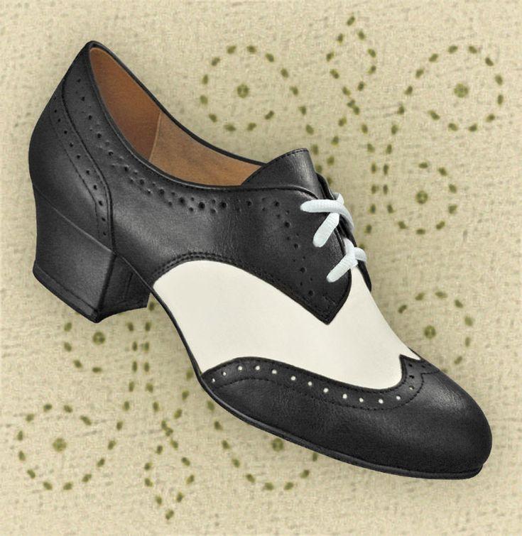 Aris Allen Black & White Classic Oxford Swing Dance Shoes