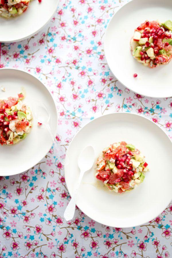 Dressed-up crab, grapefruit and avocado appetizer