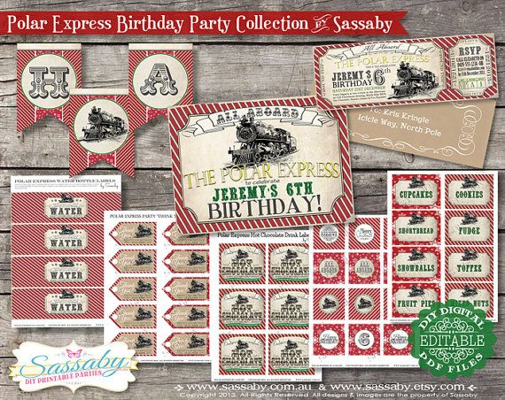 Polar Express Birthday Collection Red & Green - DIY PRINTABLE FILES - Christmas Printables by Sassaby