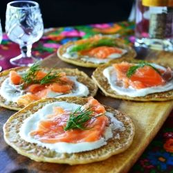 russian treat: buckwheat pancakes with cured salmon and sour cream!