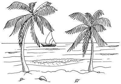How To Draw Easy Landscape Drawing Sketch Coloring Page