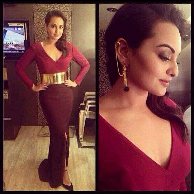 Another of Sonakshi Sinha wearing Manish Arora - Amrapali ear cuff earrings, this time for her appearance on 'Koffee with Karan'