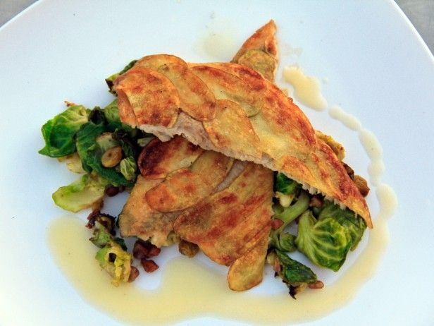 -Crusted Trout Filets with Caramelized Brussels Sprouts, Plump Golden ...