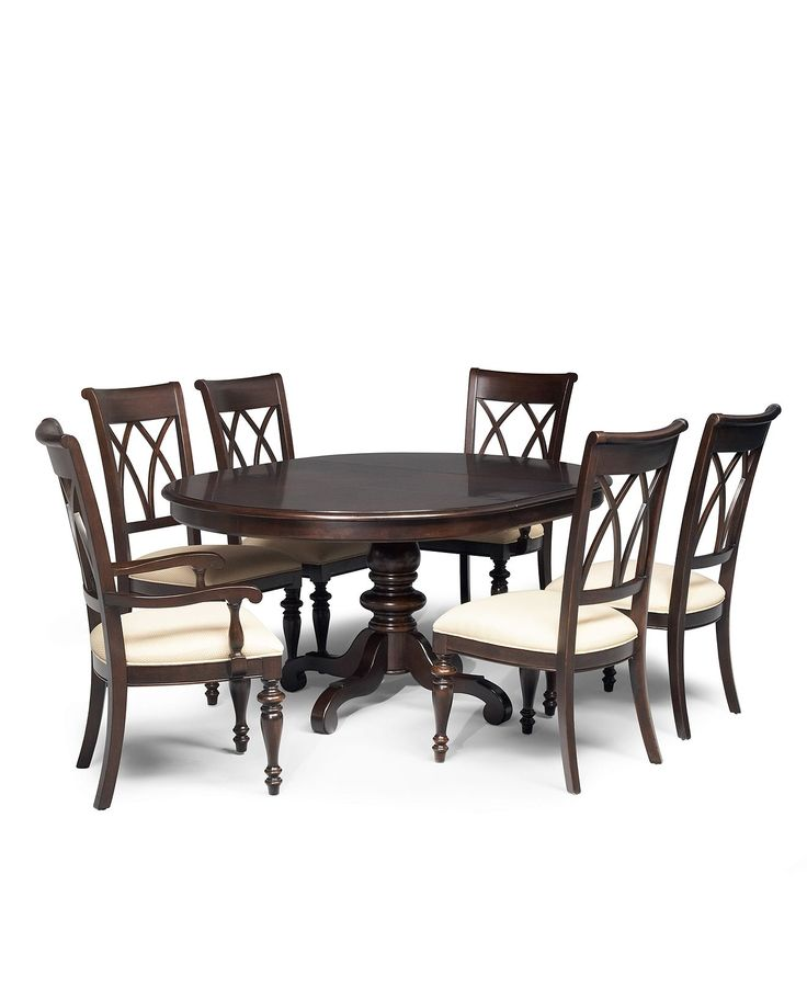 Bradford dining room furniture 7 piece set round table for 4 piece dining table