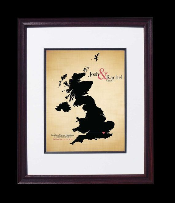 Wedding Anniversary Gift Ideas For Him Uk : Cotton Wedding Anniversary Gift wedding map - United Kingdom - UK
