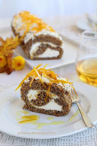 poppy seed and pumpkin sponge cake roll w mascarpone filling