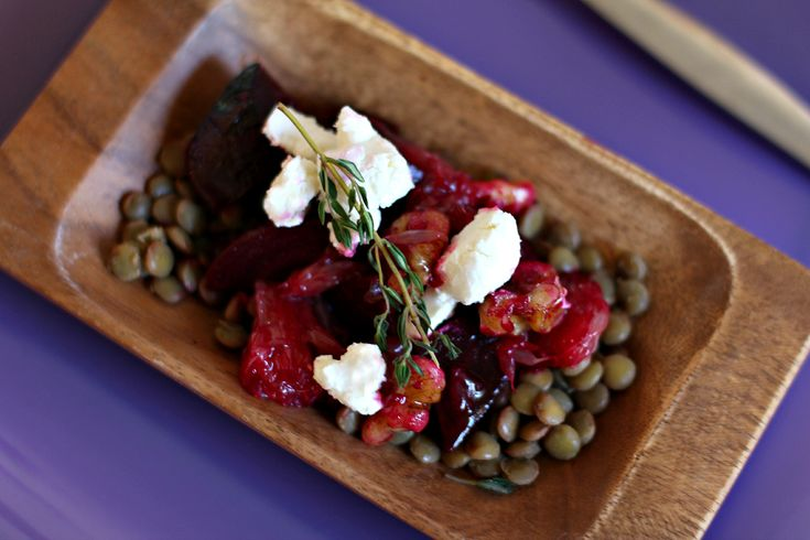 Roasted Beet, Lentil, and Grapefruit Salad with Goat Cheese & Walnuts
