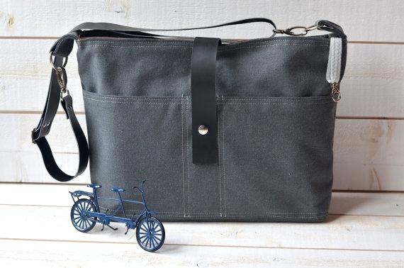 GRAY CANVAS 2 Messenger bag  / Shoulder Bag / Laptop