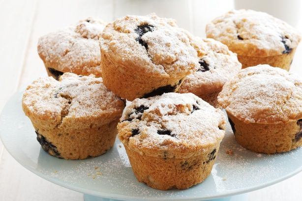 Blueberry muffins. I made with gluten free flour, 1/2 cup honey ...