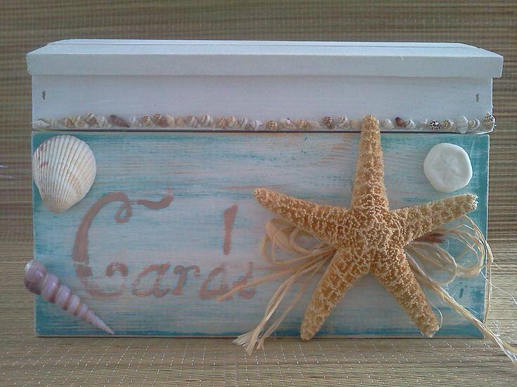 SALE Rustic, distressed beach wedding card box treasure chest