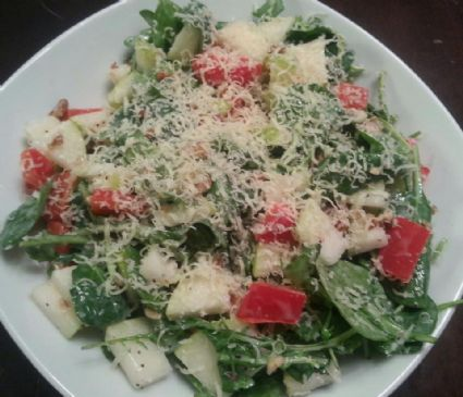 Baby spinach & arugula salad tossed with poppy seed dressing, fresh ...