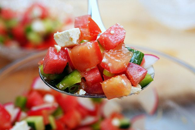 chopped watermelon, feta and vegetable salad | smittenkitchen.com