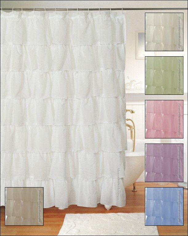 ... Gypsy Ruffle Shower Curtain, Crushed Voile Semi Sheer, Various Colors