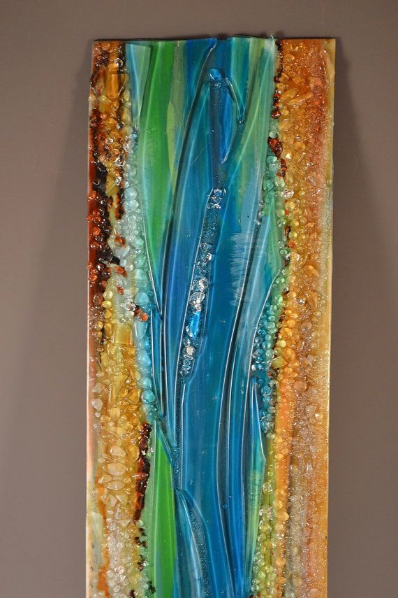 Wall Art Contemporary Glass : Renovatus modern fused glass wall hanging art with enamels