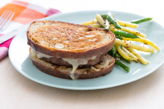 Beef Patty Melts with Green & Yellow Wax Bean Salad. Visit http://www ...