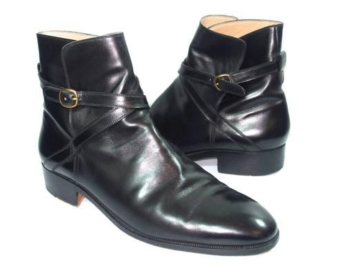 tanino crisci mens black leather ankle boots size 9 5
