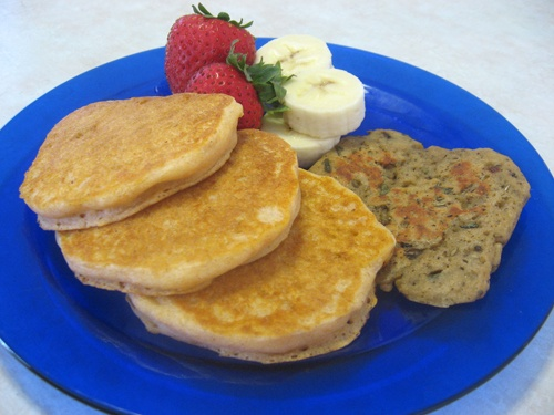 Sweet potato breakfast pancakes! I think I'll make these babies with ...