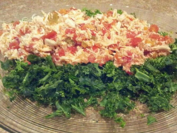 AG Tomato Chicken ~atop kale & parsley. 1can of organic petite diced ...