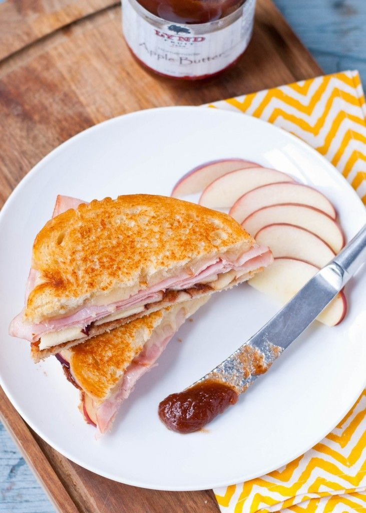 Ham and Apple Butter Grilled Cheese Sandwiches