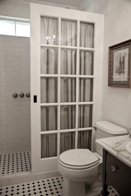 French door used as glass shower wall bathrooms pinterest for Used french doors