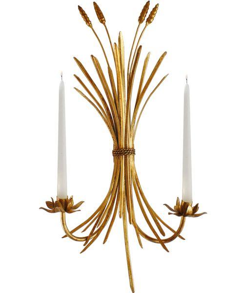 Trad-Glam Wheat Sheaf Sconce // brass candelabra sconce