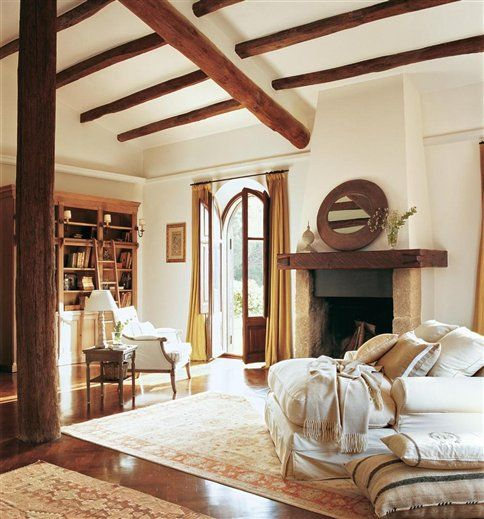 I love the exposed beams and the beautiful doors. dream home!