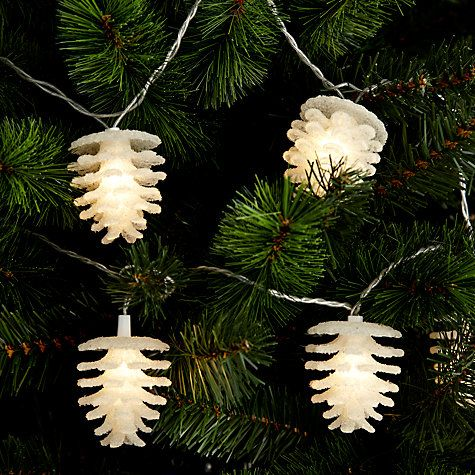 ... Pine Cone Christmas Line Lights, White, x10 Online at johnlewis.com