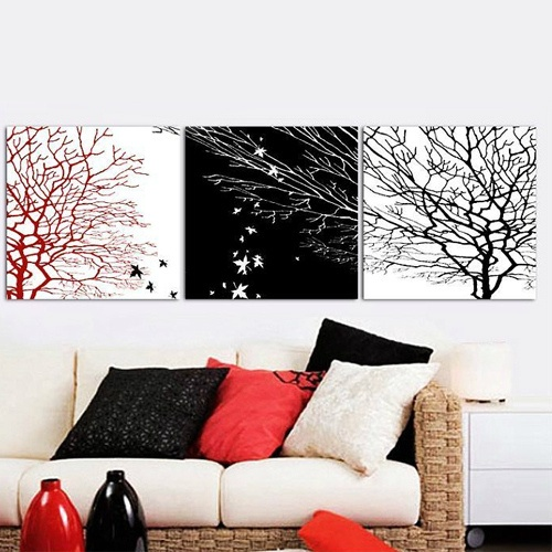 Black Wall Decor Pinterest : Red white and black wall art