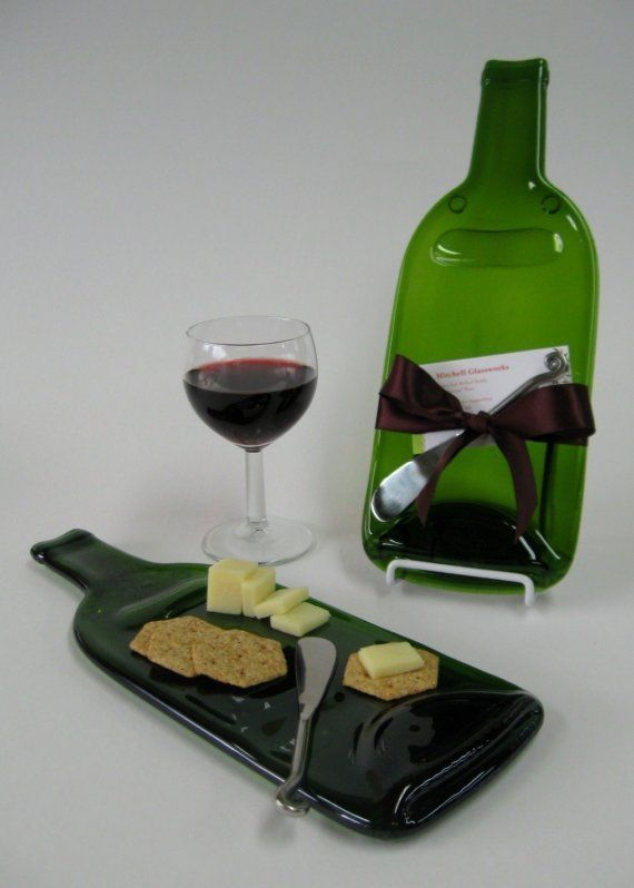 flattened bottle wine and cheese plate with cheese