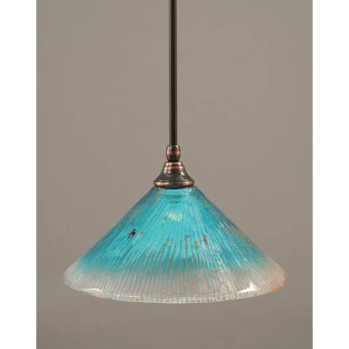 Black Copper One Light Mini Pendant With Teal Crystal