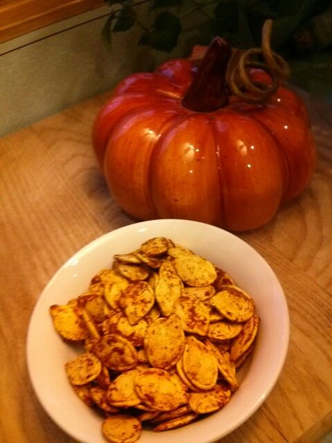 Chili cheese roasted pumpkin seeds...1tbsp olive oil...2 tbsp ...