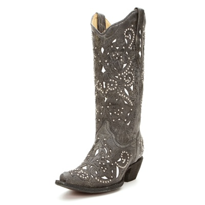 Corral Black Crater Inlay Cowgirl Boot A1096 - Cowgirl Clad Company