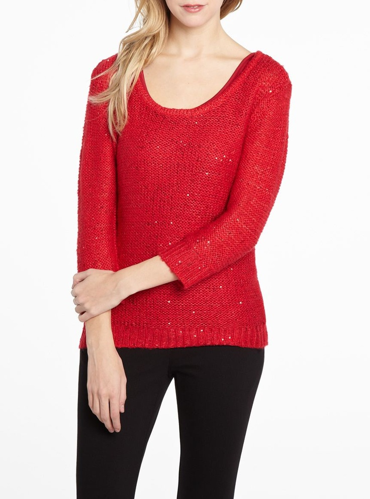 Red Sequin Sweater 107