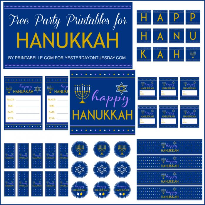 Hanukkah Party Printables including frameable art, a banner, party invites, cupcake toppers, gift tags and more #hanukkah #hanukkahprintables #hanukkahcrafts #hanukkahparty #chanukah #yesterdayontuesday