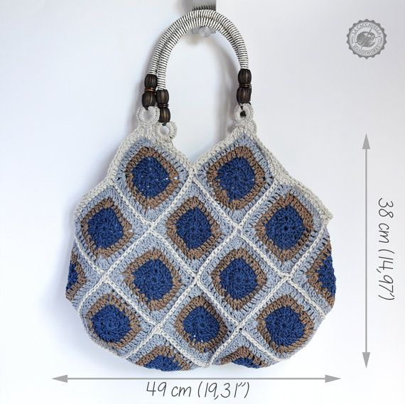 Granny square crochet bag, with rigid handles. Natural colors, custom ...