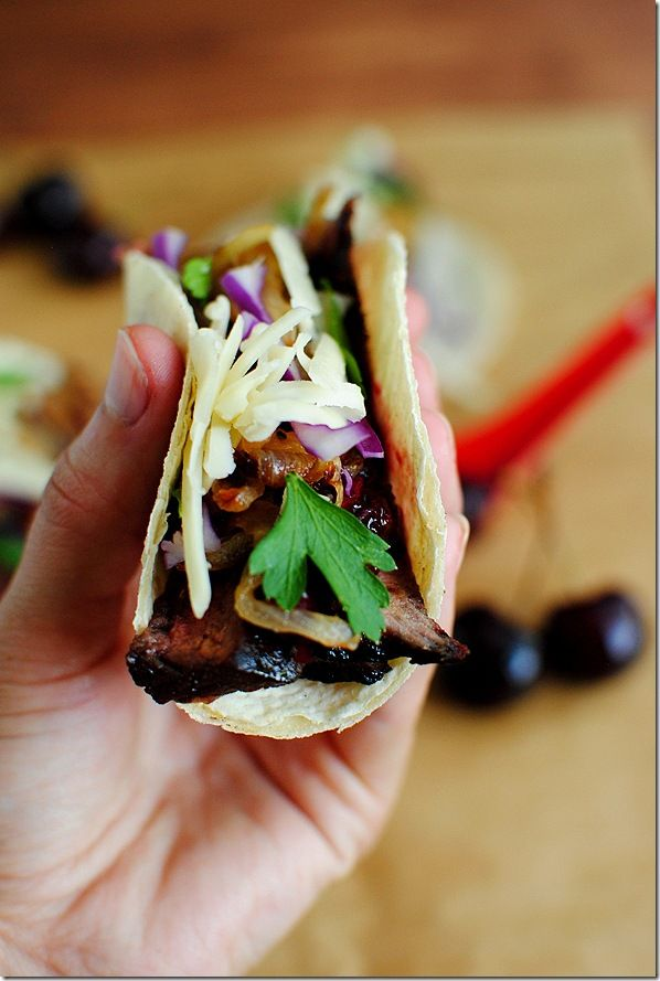 ... calls for steak, but I'm changing that!) tacos with CHERRY salsa