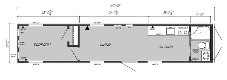 One Bedroom, One Bath Shipping Container Home Floor Plan shipping ...