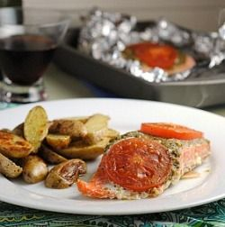 Foil-Baked Salmon With Basil Pesto And Tomatoes Recipes — Dishmaps