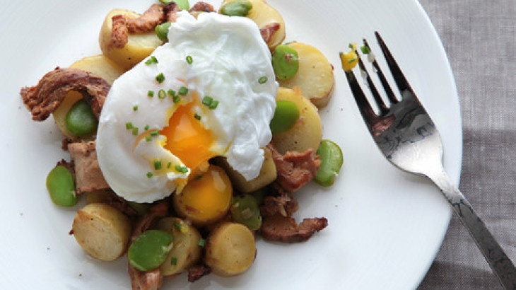 Warm Fava Bean and Chanterelle Salad with Poached Eggs Recipe