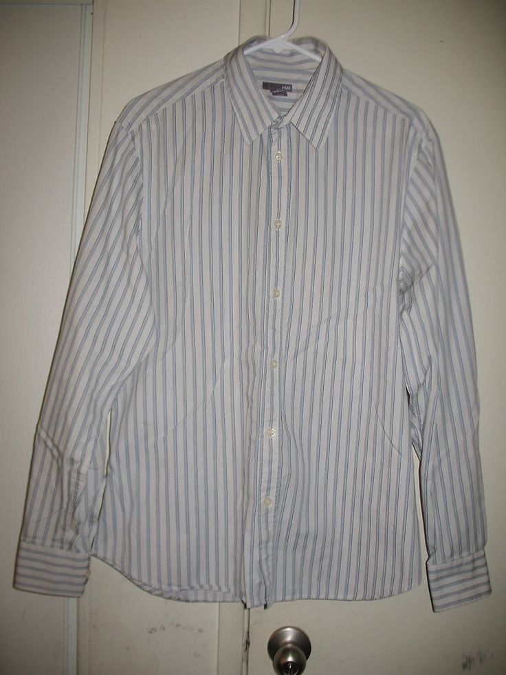 H M Mens White And Blue Stripe Long Sleeve Dress Shirt Large