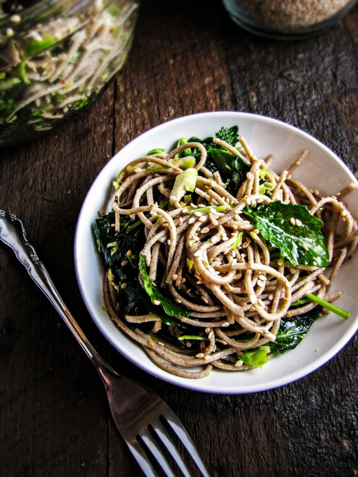 Soba Noodles with Kale, Sesame and Slivered Brussels Sprouts {Katie at ...