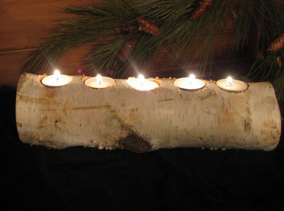 Birch log candle holder cool idea wedding for Log candle holder how to make