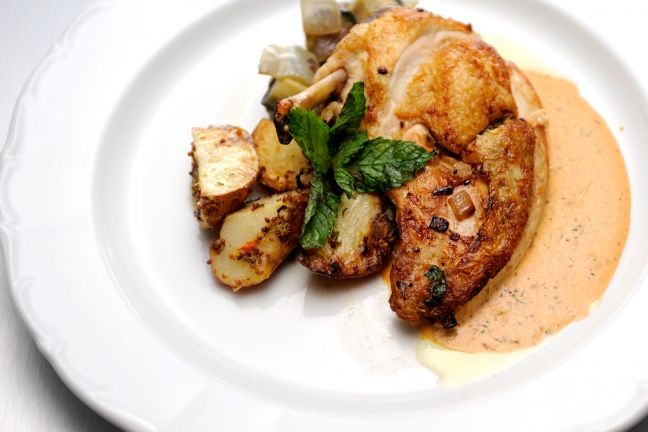 recipe for his roasted chicken breast filled with caramelized onion ...