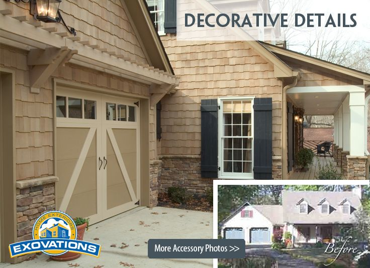 decorative accessories on a home remodel stone shutters columns