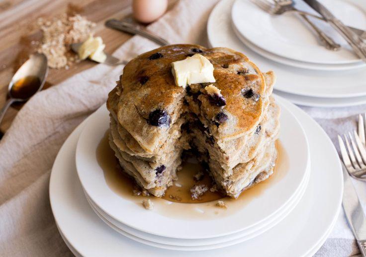 Protein Blueberry Oatmeal Whole Grain Pancakes | Recipe